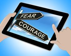Fear courage tablet shows scared or courageous Stock Illustration