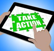take action tablet means urge inspire or motivate - stock illustration