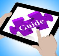 Guide tablet means website instructions and guidance Stock Illustration