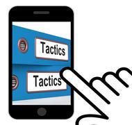 Tactics folders displays organisation and strategic methods Stock Illustration