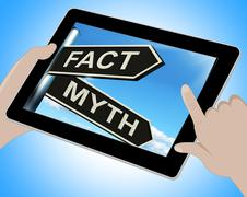 fact myth tablet means correct or incorrect information - stock illustration
