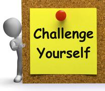 Challenge yourself note means be determined or motivated Stock Illustration