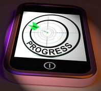 Progress smartphone displays advancement improvement and goals Stock Illustration