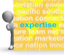 Expertise word cloud sign shows skills proficiency and capabilities Stock Illustration
