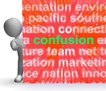 confusion word cloud sign means confusing confused dilemma - stock illustration