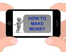 Stock Illustration of how to make money phone means prosper and generate income