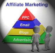 Stock Illustration of affiliate marketing symbol means internet advertising and publicity
