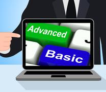 Advanced and basic keys displays program levels plus pricing Stock Illustration
