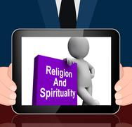 religion and spirituality book with character displays religious spiritual bo - stock illustration