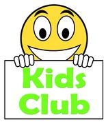 Kids  club on sign means children's activities Piirros