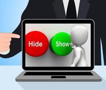 Hide show buttons displays seek find look discover Stock Illustration