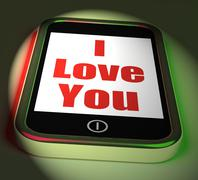 i love you on phone displays adore romance - stock illustration