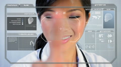 medical laboratory healthy motion graphics touchscreen technology skull doctor - stock footage