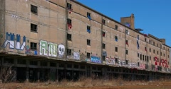 Abandoned warehouses covered in graffiti in an industrial area of St. Louis, Stock Footage