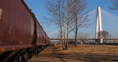 Freight cars are lined up in an industrial area of St. Louis, Missouri. Stock Footage