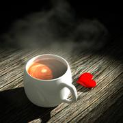 3d heart and coffee. Stock Illustration