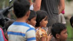 Group of Indonesian children in village Stock Footage