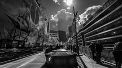 Black and white timelapse of people and cloud in the city of Vancouver Stock Footage