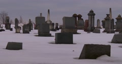 A traditional cemetery in the snow. Stock Footage
