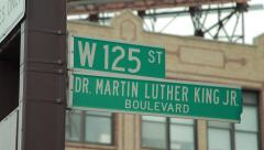Harlem New York City Martin Luther King blvd 125th street Stock Footage
