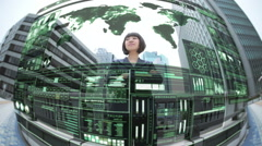 Motion graphics Japan businesswoman communication technology touch screen stock - stock footage