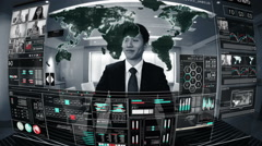 Motion graphics Asian businessman communication technology touchscreen banking Stock Footage