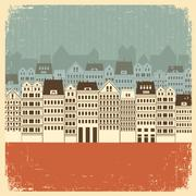 vintage cityscape with buildings.retro background on old paper - stock illustration