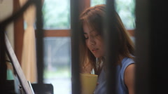 Piano lessons and her happy - stock footage