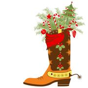 Cowboy boot with christmas elements isolated on white Stock Illustration