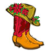 christmas cowboy boots and western hat with holiday decoration - stock illustration