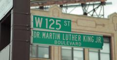 Harlem New York City Martin Luther King blvd 125th street 4k Stock Footage