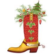 Christmas cowboy boot.luxury shoe isolated on white Stock Illustration