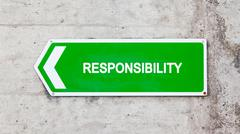 green sign - responsibility - stock photo