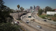 Traffic downtown Los Angeles 101 freeway 4K Timelapse, miniature city tilt shift - stock footage