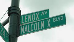 Malcolm X blvd street sign in New York City 4k Stock Footage