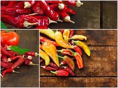 Stock Photo of collage of various chilli peppers