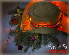 American cowboy hat with christmas decoration Stock Illustration