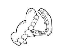 sketch of the vampire denture - stock illustration
