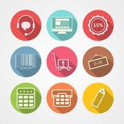 Flat icons for internet retail service Stock Illustration