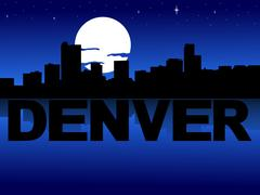 Denver skyline reflected with text and moon illustration Stock Illustration