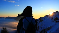 Woman int the mountains Stock Footage
