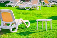 green lawn and empty sun loungers at dawn - stock photo