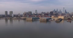 A view of Philadelphia, PA from the Ben Franklin bridge. - stock footage