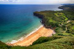 beautiful landscape beach ocean in asturias, spain - stock photo