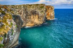 beautiful scenery with the ocean shore in asturias, spain - stock photo