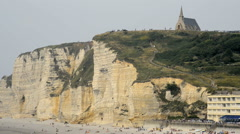Panoramic views of famous village d'Etretat Stock Footage