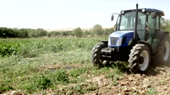 Agriculture Machinery Harvesting Crops Produce On Farm Stock Footage