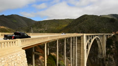 Pan of Bixby Creek Bridge, Big Sur California Stock Footage