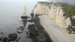 The famous cliffs at Etretat in Normandy, France Stock Footage
