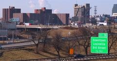 Freeways crisscross Louisville, Kentucky. Stock Footage